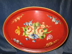 Vintage French Red Tole Tray Hand Painted flowers