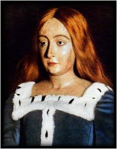 """Funeral effigy of Queen Elizabeth of York, daughter of Edward IV and Elisabeth Woodville, sister of Edward V, niece of Richard III, wife of Henry VII, mother of Henry VIII and grandmother of Edward VI, """"Bloody"""" Mary and Elizabeth I."""
