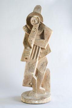 "Jacques Lipchitz (1891-1973)  stone sculpture, ""Pierrot,"" 1919."