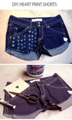 DIY heart print shorts