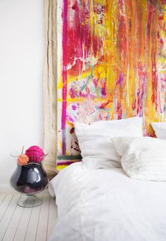 color-splashed painted headboard / 79 Ideas