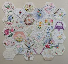 I wish these were mine... 27 hexagons, some finished, some waiting to be embellished. by Rhonda Dort