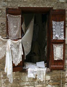 Lefkara Lace in a Window - Cyprus