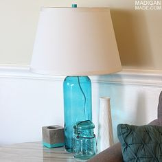 How to make a DIY lamp from  a glass bottle