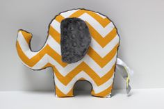 Chevron Elephant nursery pillow toy