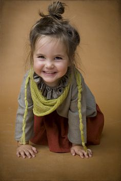 Chartreuse wrap scarf (and adorable girl). #designer #kids #fashion