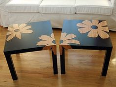 http://crafterholic.blogspot.com/2009_03_01_archive.html coffee tables, idea, craft, side tables, furniture makeover, table makeover, end tables, diy, ikea