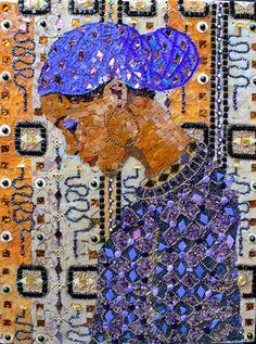 """""""Girl in a Blue Headwrap"""" mosaic by Ilona Brustad"""