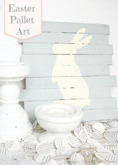 Easter Pallet Art, How To Create A Mini-Pallet Sign For Easter by Design, Dining + Diapers, DIY Easter Sign, Bunny Art, Bunny Sign, Easter D...