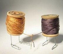 still life = vintage thread spools + craft wire... #sewing #friends