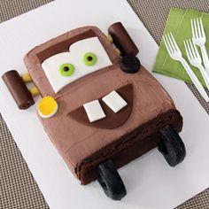 car cakes, car craft, birthday idea, kid birthday cakes, mater cake, kid birthdays, tow mater, cake recipes, parti