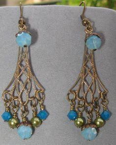 Blue Opal Earrings by SilverParrot