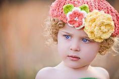 {Girls Crochet Flower Beret Hat   Etsy} Darling...