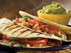 Coin Toss Bacon and Blue Cheese Grilled Quesadillas