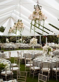 White Reception Tent  // Photo: Samuel Lippke Studios and Allan Zepeda // Wedding Planning: Details Details // TheKnot.com