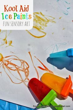 Kool Aid Ice Paints fun for sensory art by FSPDT