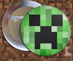 Minecraft Creeper - 1.25 inch - Pinback Button. $1.50, via Etsy.