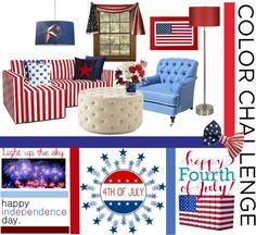 """Red, White and Blue Room"" by inlovewithabook on Polyvore"