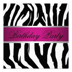 Pink and Black Zebra Birthday Party Invitation