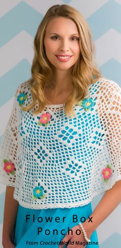 Flower Box Poncho from the April 2014 issue of Crochet World Magazine. Order a digital copy here: http://www.anniescatalog.com/detail.html?code=AM01217