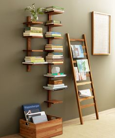 Hanging column shelves and ladder shelves. Great way to fill up wall space and display your library in an interesting way.