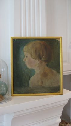 Vintage oil painting silhouette portrait little by jemsbyjennym, $175.00