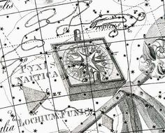 """Pyxis hovers over the mast of Argo in the Uranographia of Johann Bode (1801). The compass would have been useful to Jason and his Argonauts, but it wasn't known to the ancient Greeks. Mona Evans, """"Lacaille's Skies – Arts"""" http://www.bellaonline.com/articles/art184008.asp"""
