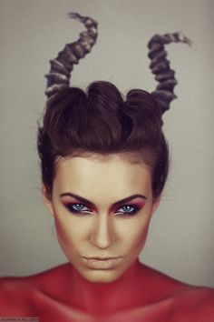 Female Devil Makeup with Horns and Red Body Makeup/Clothing
