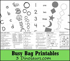 Free Busy Bag Printables with suggestion cards on how to use them - 3Dinosaurs.com