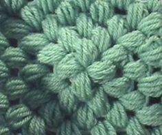 Crochet Granny Square Puff Stitch  5 Rounds, tipo flor