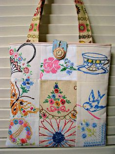 Sweet Vintage Patchwork Embroidery Purse.  Betsbagz