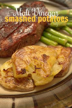 Malt Vinegar Smashed Potatoes, baby yukon gold potatoes, boiled, smashed then baked until crispy and coated in malt vinegar. A crispy, creamy, tangy, yummy side dish! - ThisSillyGirlsLife.com