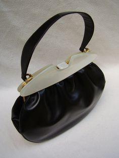 1950's GENUINE SCHIAPARELLI  Leather Handbag