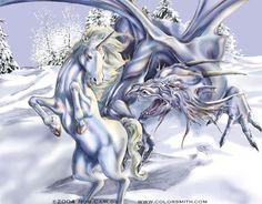 Unicorn and Dragon by Rob Carlos