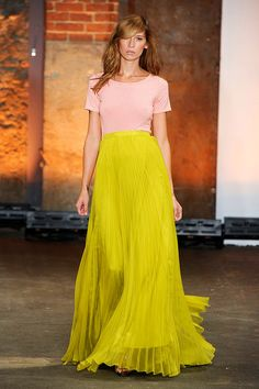 Really loving the mix of the casual tops with the elegant skirts in this collection. { Christian Siriano }