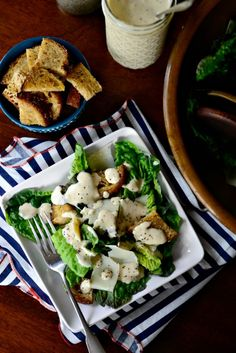 Caesar Salad with Homemade Caesar Dressing and Croutons