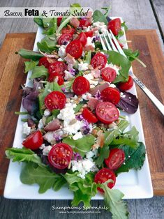 Bacon Feta & Tomato Salad ~ the herbed buttermilk dressing recipe is also really good.  #salad #recipe