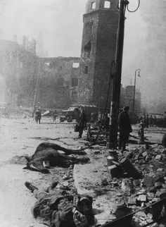 After the end of the Battle of Königsberg, April 1945. In  fierce fighting between the Soviets and Germans, the city was ruined and both sides suffered heavy casualties. The Germans surrendered on April 9 after three days of a general Soviet assault.