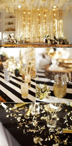 A Golden New Year's Eve Party. New Years eve party ideas for 2014, Luxuriant New Years eve party #2014 #new #year