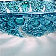 idea - use bubble powder, 3 layers glass, slump. Blue Bubble Glass Bowl