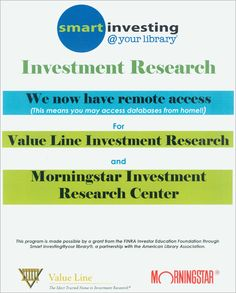 We have remote access for Valueline and Morningstar.  Click the image or visit http://www.carmel.lib.in.us/smartinvesting/