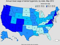 Annual mean wage of U.S. dental hygienist, by State, May 2012.  Source Bureau of Labor Statistics