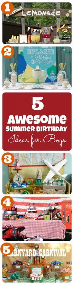 Summer Birthday Party Theme Ideas for Boys http://spaceshipsandlaserbeams.com/blog/2013/07/party-central/summer-birthday-party-theme-ideas-for-boys