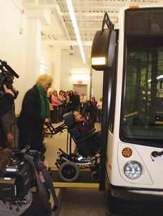 Wheelchair users can roll right on board the Minister's Award-winning Strathcona County (Alberta) Library Bookmobile.