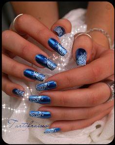 Blue mermaid - nail art designs / blue and white nails
