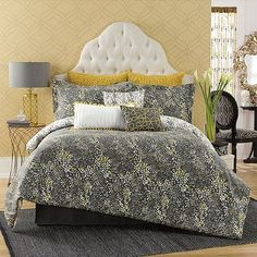 Update your bedroom with the fun and funky Anthology™ Serengeti Comforter Set. The wild bedding brings a unique look to your bedroom with its spotted leopard animal print in navy, yellow, and white.