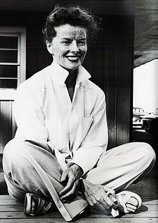 The gorgeous Katharine Hepburn styling the classic white shirt look superbly. A no nonsense woman I've always admired!