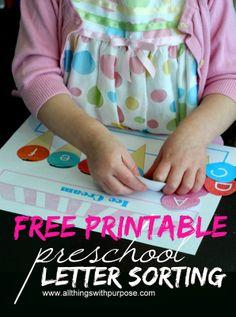 FREE Preschool Letter Sorting Printable