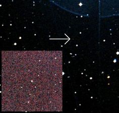"The arrow points to the star 2MASS J05233822-1403022. It's the smallest, faintest star that we know of. Although it's barely visible to our eyes, in infrared - that's the inset - it's brighter. (Photo: CDA Portal / 2MASS/UMass/IPAC-Caltech/NASA/NSF) Mona Evans, ""Stars - Ten Facts for Kids"" http://www.bellaonline.com/articles/art183490.asp"
