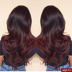 black to dark red ombre